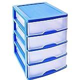Acan Plastic Forte - Cajonera de plástico Azul 4 cajones Transparente 35 x 27 x 35.5 cm