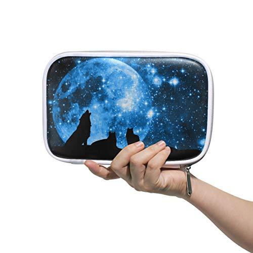 MAHU Pencil Case Animal Wolf Galaxy Star Moon Pencil Bag Zipper Pouch Holder Makeup Brush Cosmetic Bag Passport Large Capacity Organizer Box