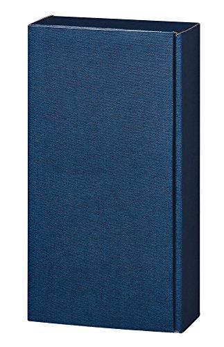 5 Stück Set! Edler Weingeschenkkarton 2er Blau Leinenoptik Design, edle Wein Geschenkverpackung für zwei Weinflaschen, mit Leinen Struktur, einfarbig. Exklusiver Präsentkarton für Ihr Weingeschenk
