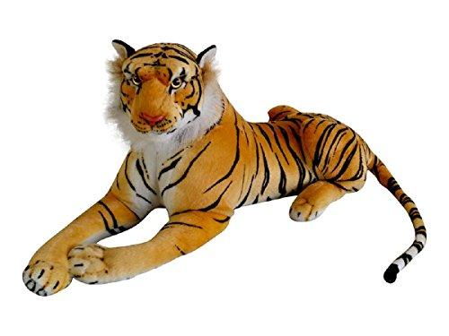TE-Trend XL Plüschtier Tiger Kuscheltier Stofftiger lebensechte Raubkatze liegend Dschungel Steppe 80 cm Mehrfarbig getigert
