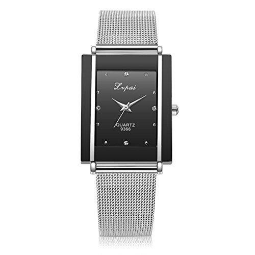 Souarts Damen Herren Armbanduhr Einfach Mesh Metallarmband Casual Analoge Quarz Uhr Schwarz Weiss