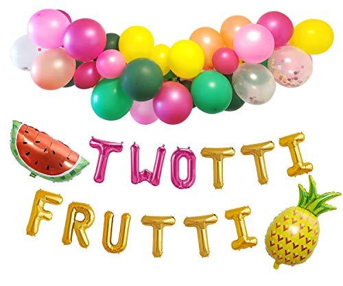 Twotti Fruity Birthday Decorations Balloon Arch Garland 'Twotti Frutti' Foil Balloon Banner Watermelon Pineapple Decor
