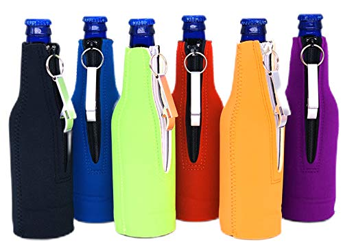 Blank Neoprene Zipper Beer Bottle Coolie With Attached Bottle Opener (Variety Color 6 Pack)