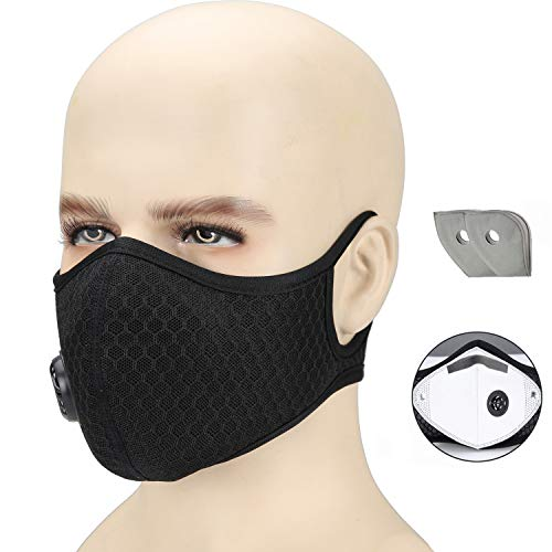 Dust Mask , Otato Activated Carbon Dustproof Masks with Earloop, Extra Filter Cotton Sheet and Valves for Cycling, Exhaust Gas, Anti Pollen Allergy, PM2.5, Woodworking