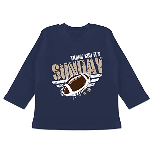 Sport Baby - Thank God Its Sunday Football - 3/6 Monate - Navy Blau - Spruch - BZ11 - Baby T-Shirt Langarm