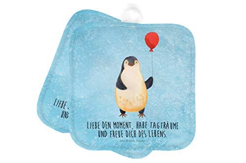 Mr. & Mrs. Panda Handschuhe, Kochen, 2er Set Topflappen Pinguin Luftballon mit Spruch - Farbe Eisblau