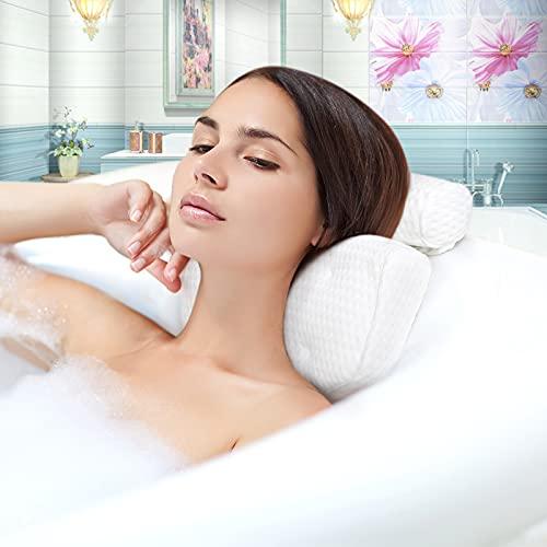 JOBYNA Almohada de Baño, 4D Malla Transpirable Almohadas de Bañera con 7 Potentes Ventosas Antideslizante, Reposacabezas Bañera Ergonómico para SPA, la Cabeza, el Cuello, los Hombros y la Espalda