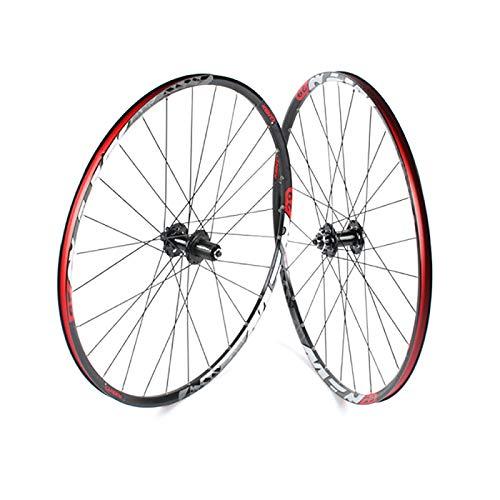 Juego de Ruedas MTB 29 Pulgadas, Freno de Disco Juego de Ruedas para Bicicleta de Montaña (Delantero + Trasero) Llanta MTB de Aleación de Aluminio QR/THR 7-11S,Black
