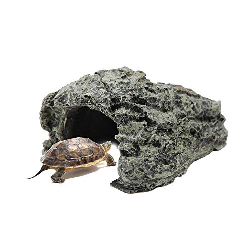 Reptiel verbergen grot schildpad Basking Platform vis garnalen schuilplaatsen Aquarium Reptiel Terrarium Verbergen Decoratie voor hagedissen schildpadden vis, Klein
