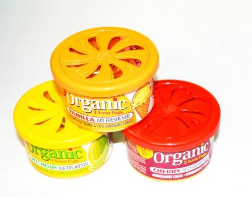 FRUCHT-Trio Duftmix 3 Duftdosen Organic Scents - je 1x Cherry, Vanille, Melone Autoduft