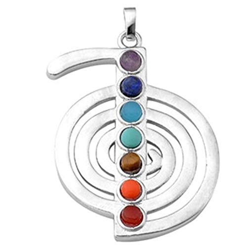 7 Granos Chakra Charm Piedra Reiki Símbolo De Sanación Chu Ko Rei Colgante Para Hacer Collar 31mm * 38