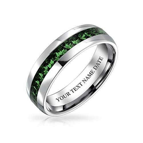 Bling Jewelry Mai Mois De Naissance Couleur Vert Foncé Channel Paires Cristal Éternité Bague en Acier Inoxydable Gravé Personnalisé