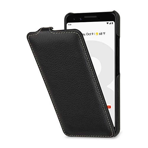 StilGut Lederhülle für Google Pixel 3 vertikales Flip-Hülle, schwarz