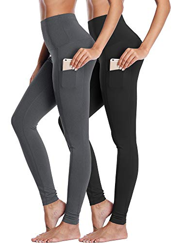 Neleus Damen Yoga Leggings Bauchkontrolle Workout Yoga Hose - Grau - Mittel