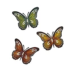 Metal Butterfly Wall Decor Butterfly Wall Art Indoor or Outdoor Fence Decor, Set of Three