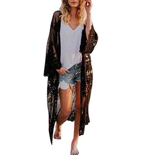 Vectry Damenmode Mädchen Damen Vintage Sommer Spitze böhmischen Strand Lange übergroße Kimono Mantel Bluse Cover Ups Kleider Kleidung Bademode Unterwäsche Nachtwäsche (Free Size, Schwarz)