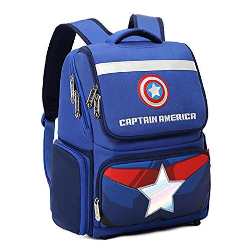 Hflyy Mochilas para Niños Capitán América Escolares Viajes Al Aire Libre Kit De Almuerzo Mochila con Impresión 3D Superhéroe Unisex Impresiones Geométricas,Blue-30 * 20 * 38cm