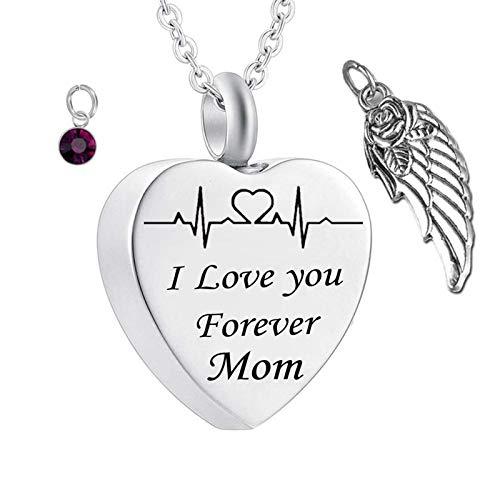 Daesar Collar Cenizas Corazón con ala de Ángel Piedra del Zodíaco y ECG Grabado I Love You Forever Mom Febrero Púrpura Oscuro