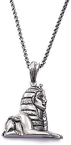 LBBYLFFF Collar con Colgante de esfinge egipcia Antigua para Hombre, Collar para Mujer, Figura de Acero Inoxidable, faraón, pirámide, Collar de Cadenas largas, joyería