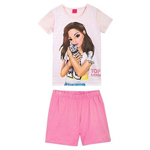 Top Model Niña Ropa de Dormir, Pijama: T-Shirt, Camiseta y Short, Rosa, Talla 128, 8 años