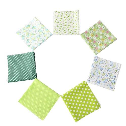 7PCS acolchar Floral Rayado Tela de algodón 25 * 25 cm DIY Suministros de Costura Remiendo de Tela Verde edredón Crafts Hoom