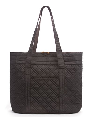 Overbrooke Reversible Quilted Tote Bag, Black & Mocha - Premium Fabric Womens Shoulder Tote