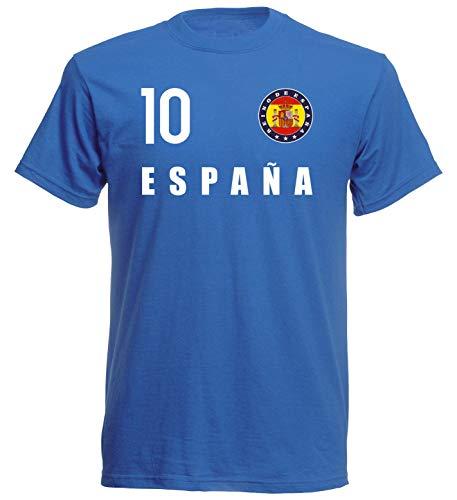 Nation Spagna - Maglietta con stemma FH 10 BL Blu XL