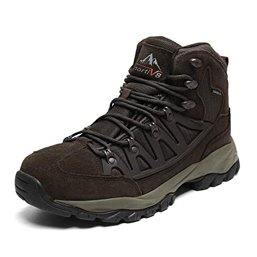 NORTIV 8 Men's Waterproof Hiking Boots Outdoor Mountaineering Trekking Mid Backpacking Shoes Brown Size 10.5 M US JS19002M