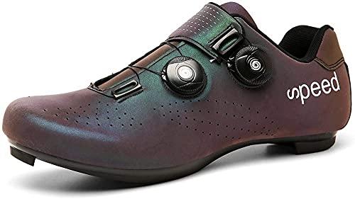 KUXUAN Zapatillas de Ciclismo Mujer Hombre Zapatillas de Ciclismo MTB Zapatillas de Ciclismo de Carretera SPD SPD-SL,Blue+Purple-37 EU
