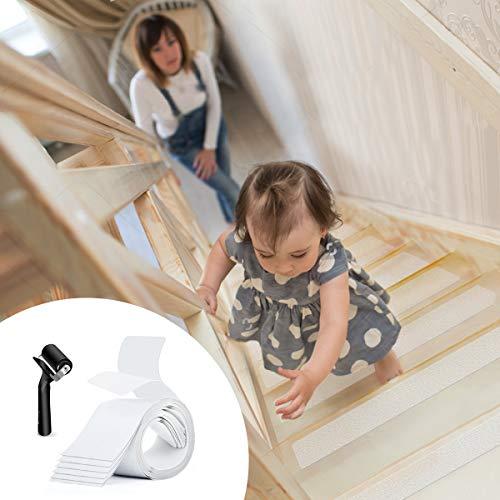 Antirutschstreifen Treppe, BMK 15 x Stufenmatte Treppen mit Rolle Werkzeug Selbstklebend Transparent Rutschfest für Treppe & Boden, Schützen Schwangere, Alter, Baby, Tier 10cm x 61cm