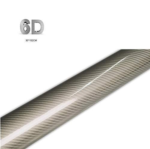 Película Adhesiva para Automóvil 6D, Película Adhesiva de Fibra de Carbono para Automóvil, Adecuada para la Decoración Interior de la Modificación de la Carrocería del Automóvil, (152 * 30 cm)