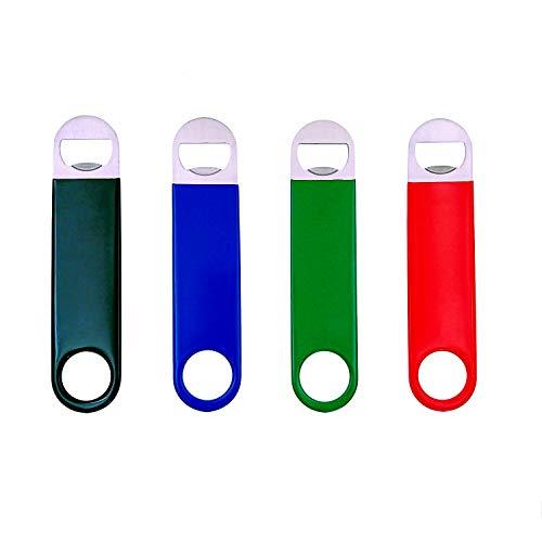 JZK 4 x Nero rosso verde blu acciaio inox apribottiglie grandi con manico strato in gomma antiscivolo, apri bottiglie birra per festa casa e bar per barman