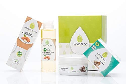 Naturoleo Cosmetics, Aceite Almendras Dulces NAT + Manteca Karité BIO - Pack Cuidado Piel y Cabello - 100 ml + 100 ml