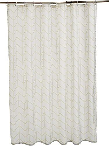 Lusun Duschvorhang, wasserabweisend, mit verstärktem Saum, Polyester (Fischgrätmuster, Naturfarben(1), 180 x 200 cm)