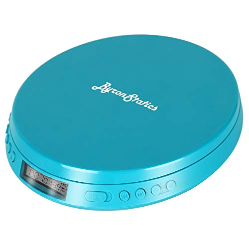 Byron Statics Portable CD Player, Personal Compact Disc Player with Anti-Skip/Anti-Shock, Headphone Jack & Large LCD Display for Car Use and Home Travel, not Rechargeable, Use AA Batteries Teal