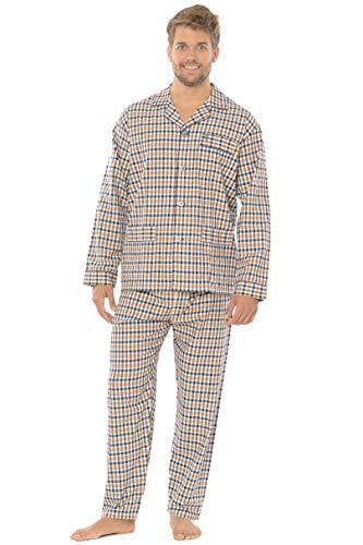 El Búho Nocturno - Herren Karierter und gestreifter Zweiteiliger Pyjama mit Langen Ärmeln   Klassische Nachtwäsche für Männer - Viyellastoffstoff, 100{b25db6a1cfd243d16072e471dd40a338e1df27aaea7635f62c8a211ea8dcdfa0} Baumwolle - Größe M - Orange, Navy, Weiß