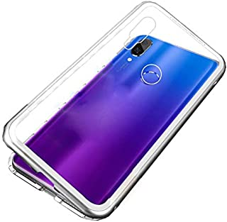 for Xiaomi Redmi Note 7 Pro/Note 7 Case 360 Degree full cover 2 pieces metal frame Magnetic tempered glass back Case - Silver