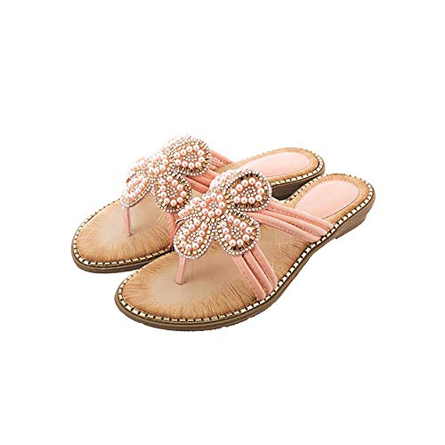 Fashion Rhinestone Pearl Flip Flops Wedge Platform-Tong sandalen Summer Casual Ms' Clip teenslippers Schoenen slippers (Color : Apricot, Size : 35MEU)
