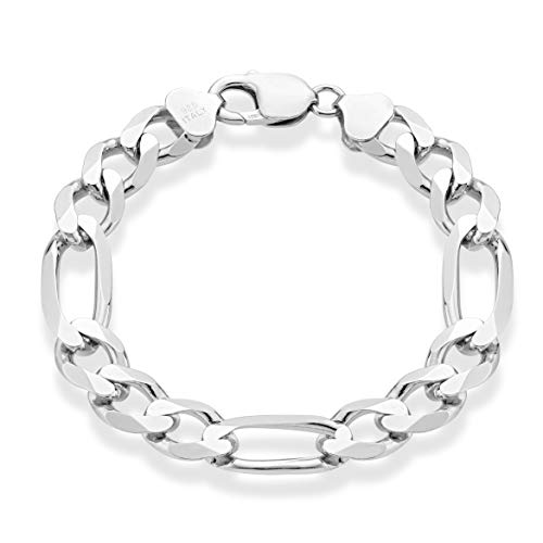 MiaBella 925 Sterling Silver Italian 11mm Solid Diamond-Cut Figaro Link Chain Bracelet for Men 7.5, 8, 9 Inch Made in Italy (7.5 Inches (6.25