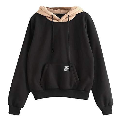 Yowablo Kapuzenpullover Damen Pullover Sweatshirt Kapuzenpulli Top Hoodies Taschen Patchwork Riemchen (S,3- Schwarz)