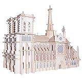 Simulación Notre Dame catedral París edificio modelo kits 3D rompecabezas de madera Craft souvenir juguetes regalo para niños adultos