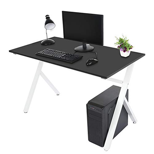 Writing Study Desk Simple Computer Desk, Small Industrial Home Office Desk with Metal Legs for Students Adult Wooden Table, Modern Simple Laptop Desk for Kid (Black)