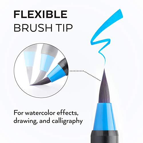 Arteza Real Brush Pens, 48 Colors for Watercolor Painting with Flexible Nylon Brush Tips, Paint Markers for Coloring, Calligraphy, Drawing with Water Brush, Art Supplies for Artists and Beginners Photo #2