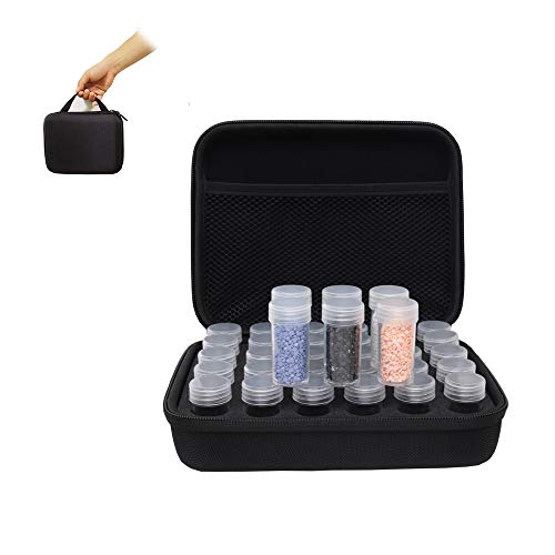 Benote Bead Storage Organizer Case, 30 Slot Diamond Painting Storage Containers Zipper Design Portable Box, Art Boxes for Beads, Art Craft Jewelry Rhinestones Organizer,Sewing Pills Container Holder