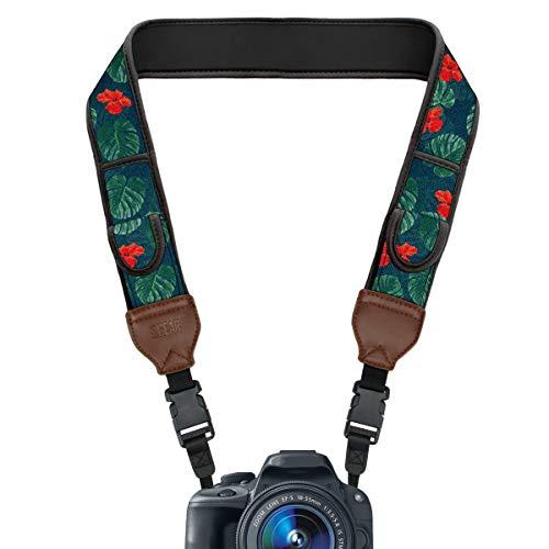 USA Gear TrueSHOT Correa Camara Reflex, Bolsillos para Accesorios y Hebillas de Liberación Rápida - Compatible con Canon, Nikon, Sony, Olympus, Pentax, Fujifilm y más - Diseño con Tropical