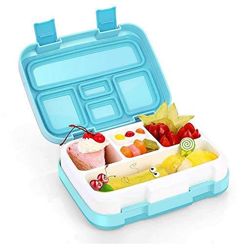 Jiuj Box voor kinderen Lekvrije Lunch Box 5 Compartiment Magnetron Vriezer Vaatwasser met Herbruikbare Bestek voor Kids School Picnics Reizen - Blauw Blue 5 Compartments