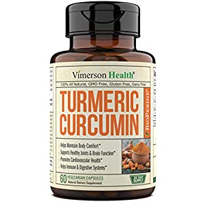 Turmeric Curcumin with BioPerine Black Pepper Extract - Natural Joint Support Complex with 95% Standardized Curcuminoids. Inflammatory and Immune Response. High Absorption Antioxidant Supplement