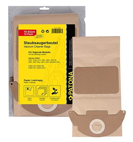 PATONA 10x Staubsaugerbeutel lang kompatibel mit Kärcher K2501 K2601 K3001 6.904-143 K2101 K2301, reißfestes Papier mehrlagig