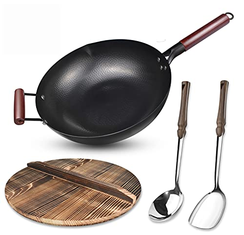 Carbon Steel Wok Flat Bottom,Woks and Stir Fry Pans Nonstick with Spatulas & Spoon,Uncoated Cooking Wok Pan with Wooden Handle,Chinese Pans and Pots for Electric, Induction and Gas