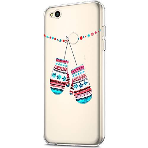 Kompatibel mit Galaxy J3 2017 Hülle Silikon Schutzhülle Transparent mit Christmas Weihnachten Schneeflocke Muster Handyhülle Durchsichtige Backcover TPU Case Tasche Etui Bumper, Handschuhe